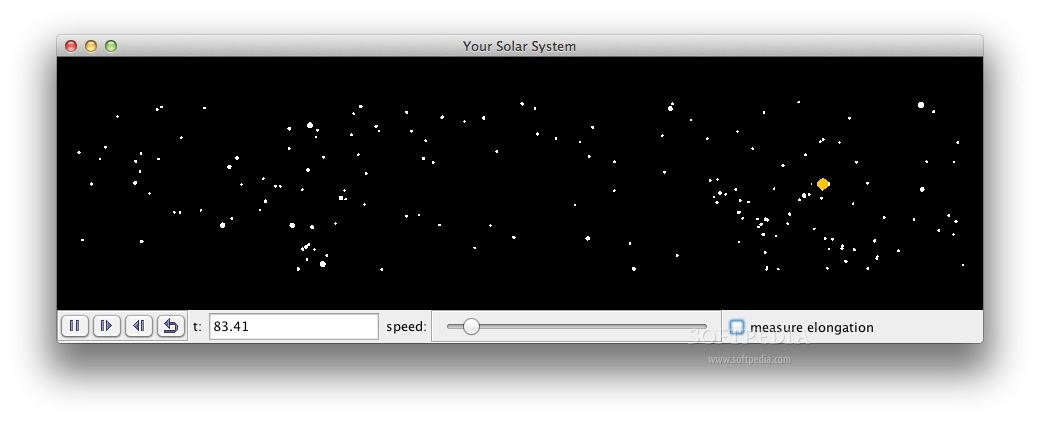 Simple Fictitious Solar Systems screenshot 1 - In the main window of the application you can start the simulation.