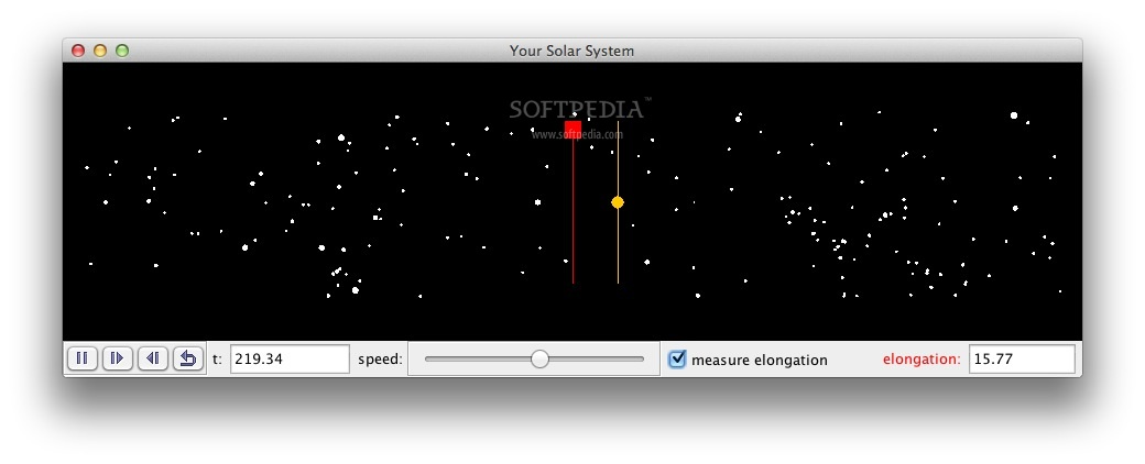 Simple Fictitious Solar Systems screenshot 2 - You can also enable elongation in the simulation.