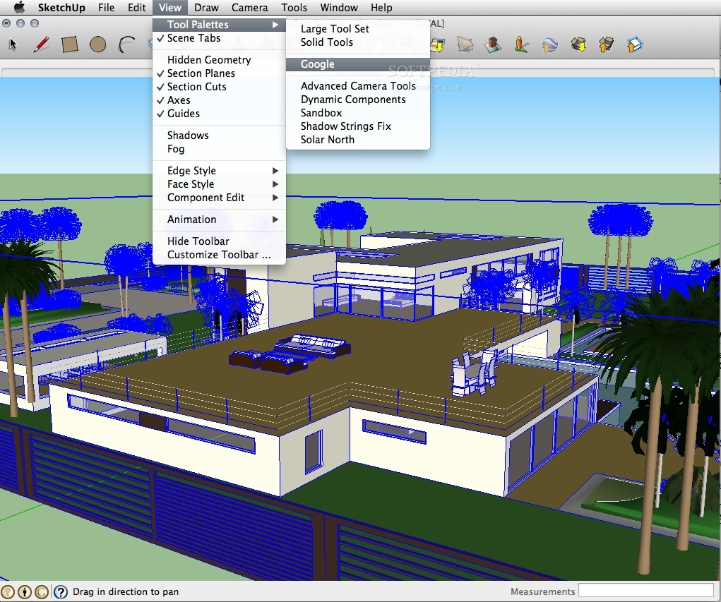 SketchUp Pro screenshot 2 - Various effects and tools can be accessed through the View menu.