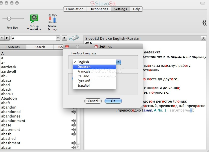 SlovoEd Deluxe Czech-French-Czech Dictionary screenshot 3 - The Settings tab lets you specify the what  you want to use more while browsing the dictionary: the mouse  or the keyboard keys.