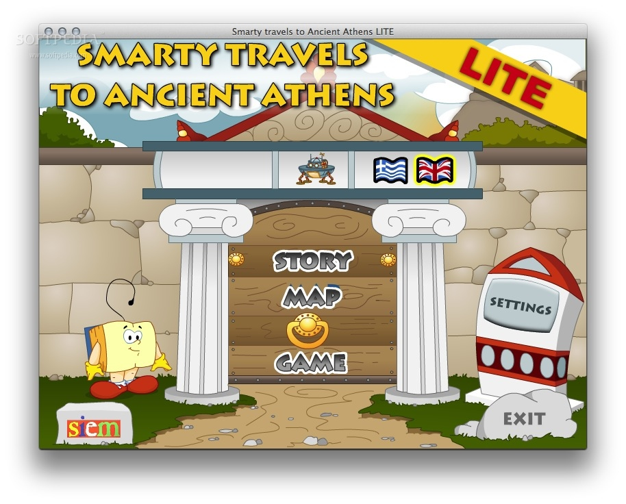 Smarty travels to Ancient Athens screenshot 1 - You will be able to access the stories, map and games from the main window.