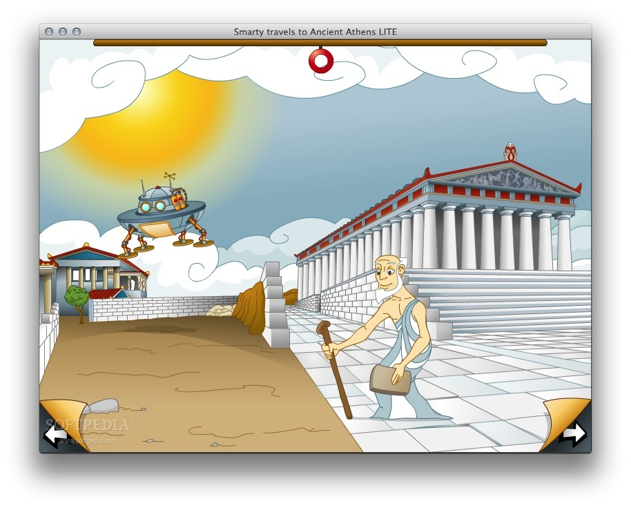 Smarty travels to Ancient Athens screenshot 2 - Follow the adventures of smarty who arrives at ancient Athens using his flying machine.
