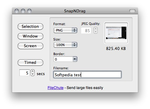 SnapNDrag screenshot 1 - This is SnapNDrag main window where you can configure your snapshots' options