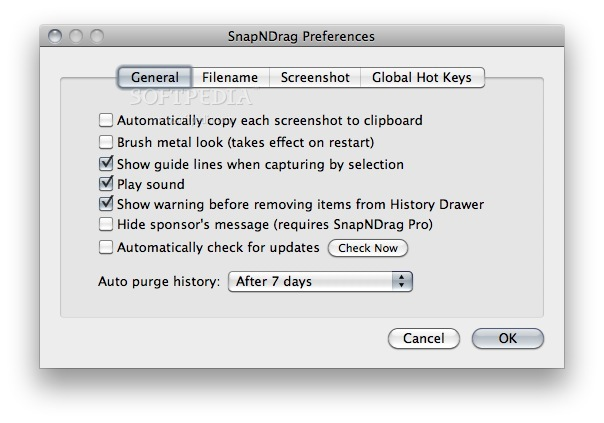 SnapNDrag screenshot 2 - The General tab will let you further customize your snapshots.