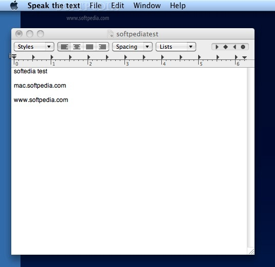 Speak the Text screenshot 1 - The main window where you can see the Automator action running.