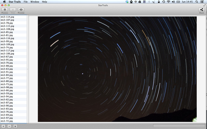 Star Trails screenshot 1 - In this window you can create star trail pictures.