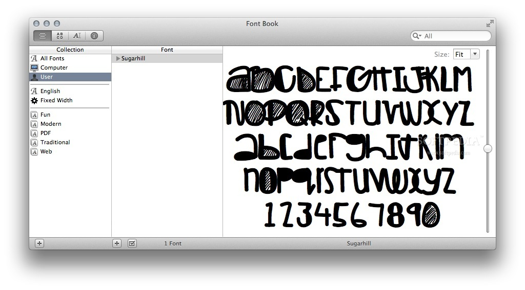 Sugarhill screenshot 1 - In the Font Book main window you can preview the typeface design.