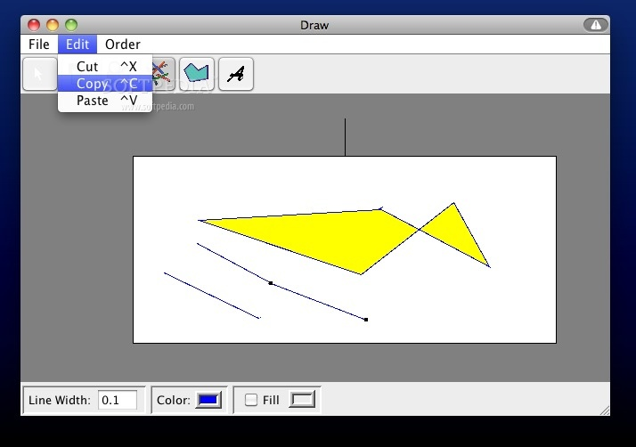 Draw screenshot 2 - This menu provides you with some basic editing tools.