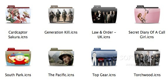 TV Color Series - Pack 10 screenshot 1 - The folder replacement icons included in the collection.