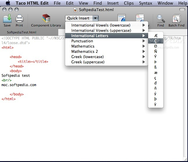 Taco HTML Edit screenshot 1 - In this window users can write HTML code and insert punctuation, international letters, Greek letters and more.