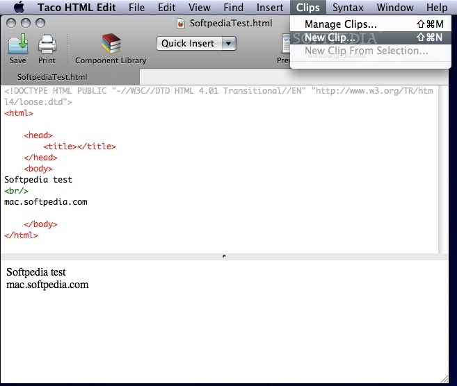 Taco HTML Edit screenshot 6 - From this menu you can add new clip or manage clips.