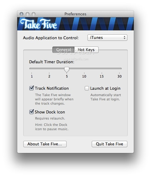 Take Five screenshot 2 - The default timer duration can be set in the General preferences.