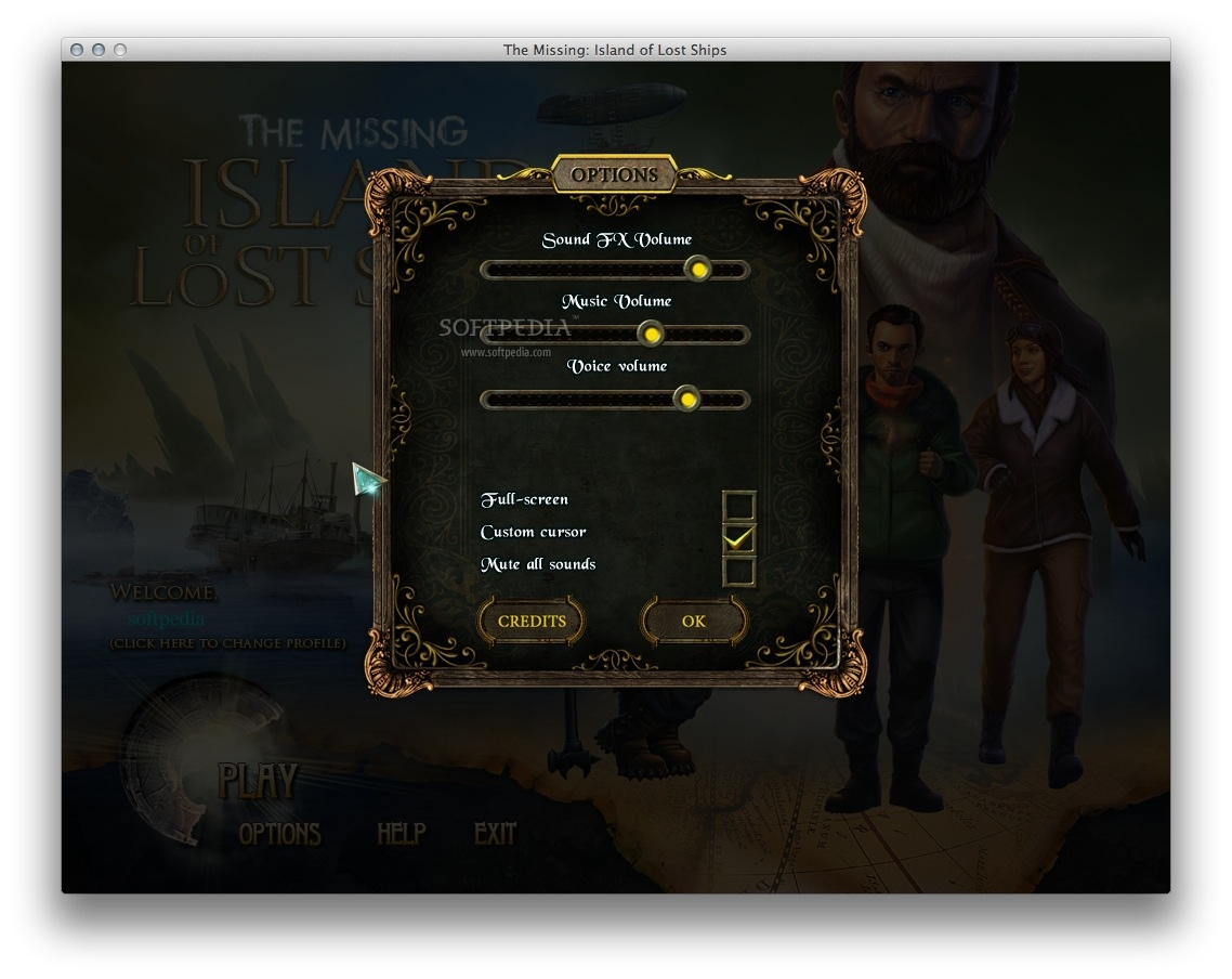 The Missing: Island of Lost Ships screenshot 5 - The 'Options' window allows you to adjust the volume and more.