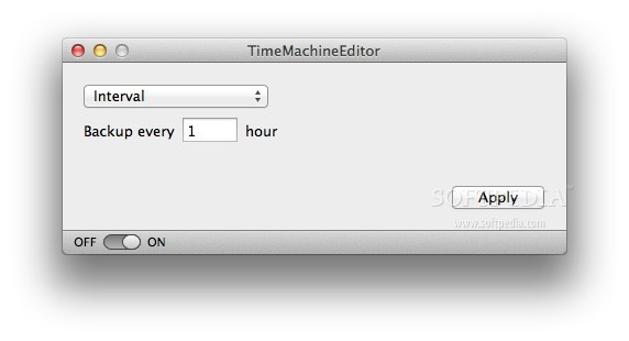 TimeMachineEditor screenshot 1 - In this window you can choose the interval you want the backup to take place.