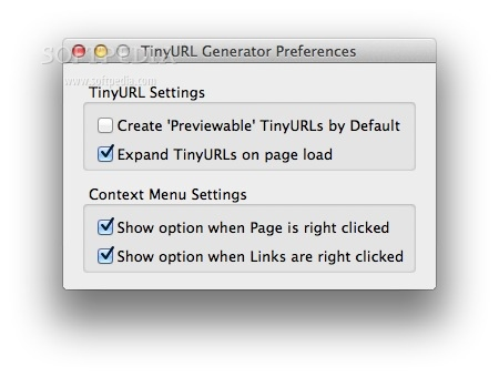 TinyURL Generator screenshot 3 - Some display options can be configured in the Options window.