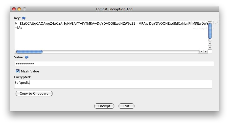 Tomcat Encryption Tool screenshot 1 - In this window you can encrypt your key.