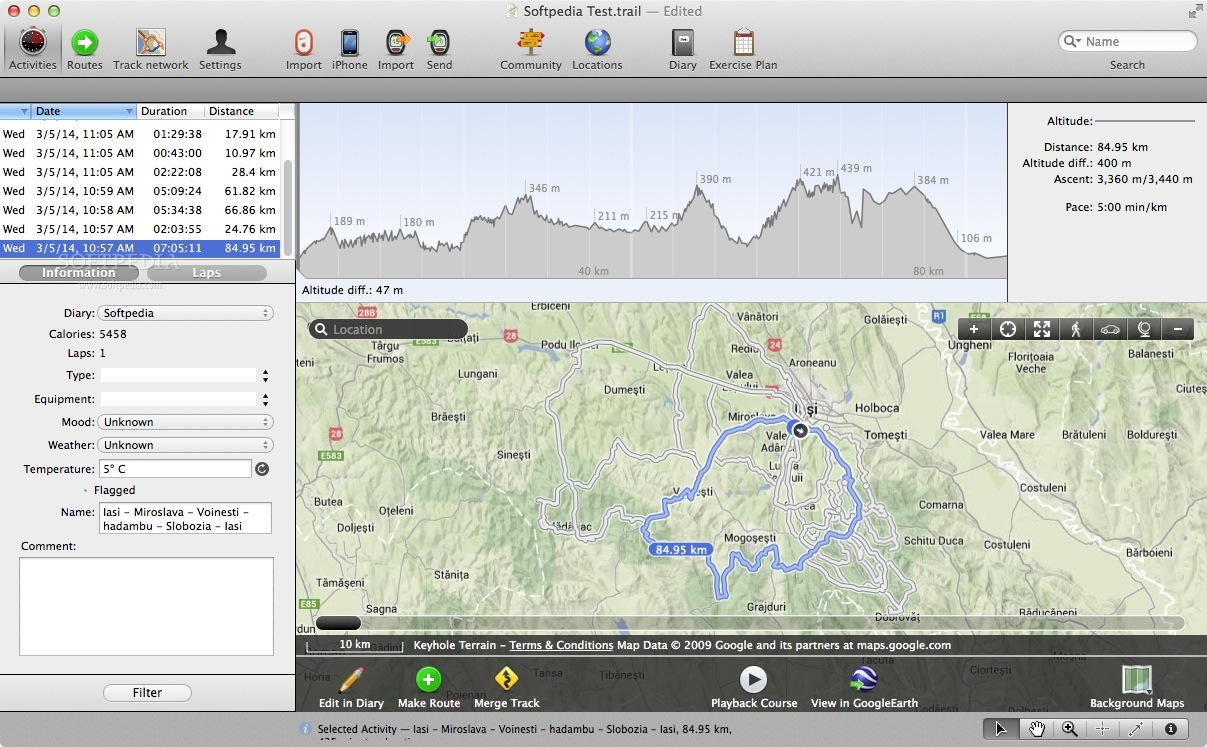 TrailRunner screenshot 1 - The main window where you can see the map.