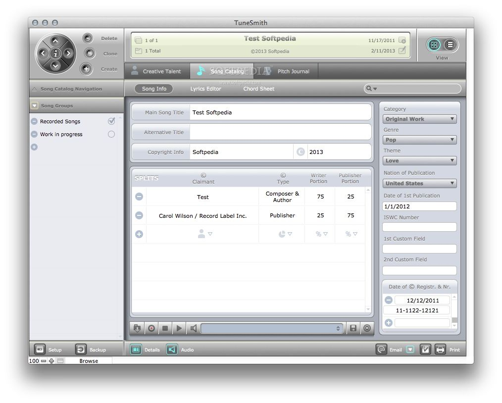 TuneSmith screenshot 2 - By selecting the Son Catalog tab you can add information about the recorded songs.