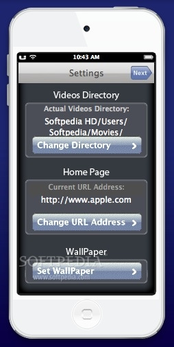 UniPlayer 9S screenshot 3 - From the 'Settings' Panel you can change the homepage and more.
