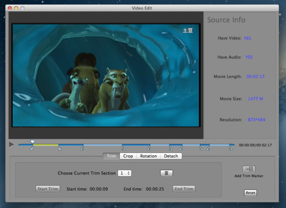 Video Edit screenshot 1 - From the Trim tab you will be able to set the position for the Start Trim and End Trim markers.