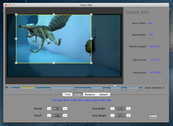 Video Edit screenshot 2 - Using the Crop tab you can adjust the origin and end position for the crop action.