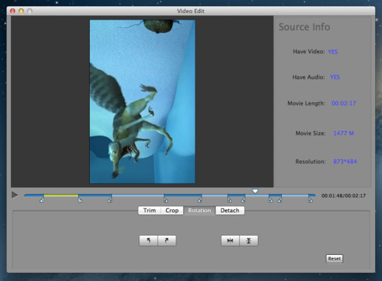 Video Edit screenshot 3 - The Rotation tab allows you to quickly rotate the video to left or right and mirror it horizontally or vertically.