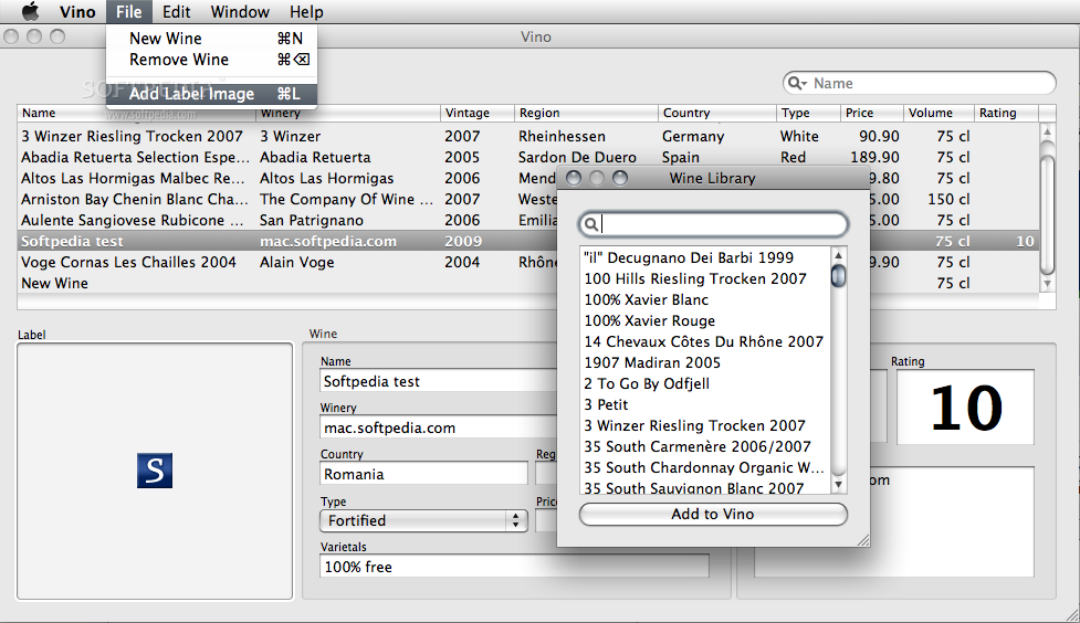 Vino screenshot 3 - Using the File menu you will be able to quickly add a new wine to the database, remove a wine of your choice or add an image label to one of the added wines.