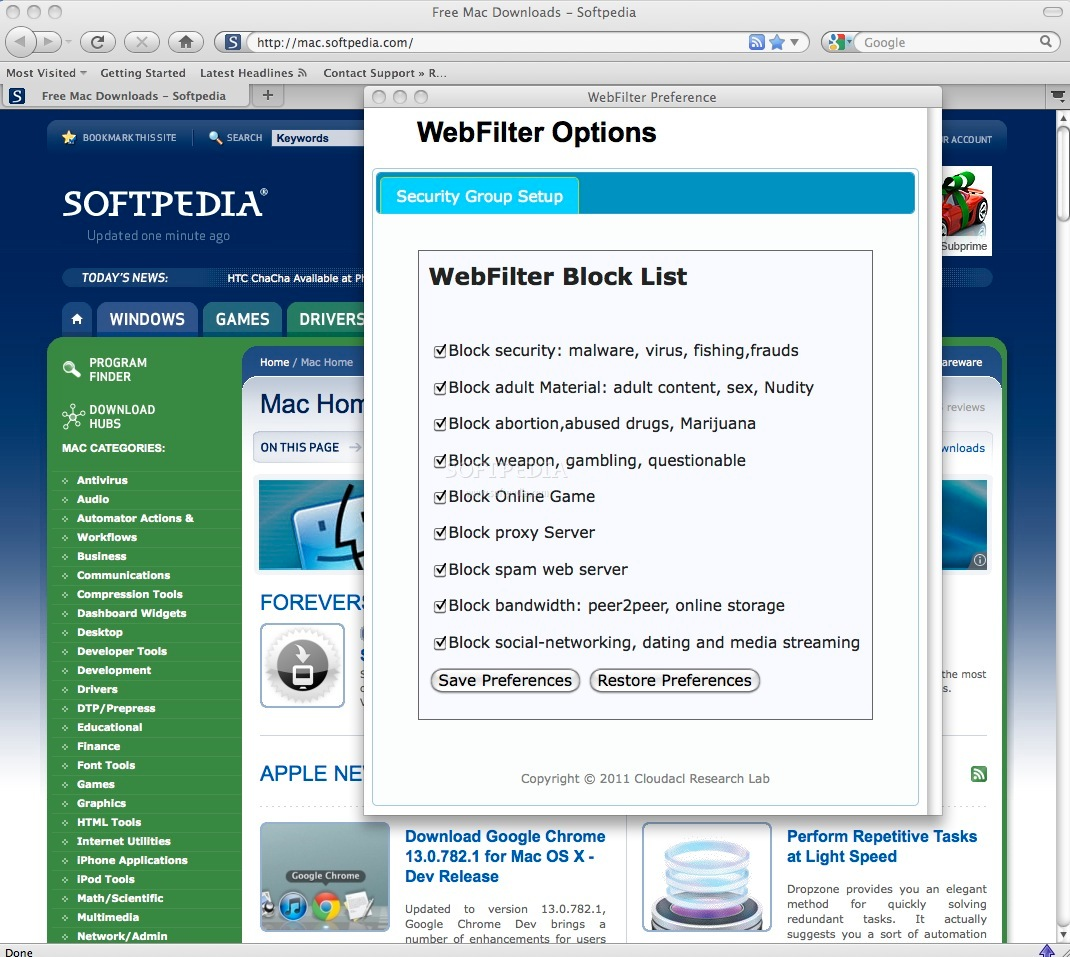 WebFilter Pro screenshot 1 - You can check the filtering options in the preferences window.