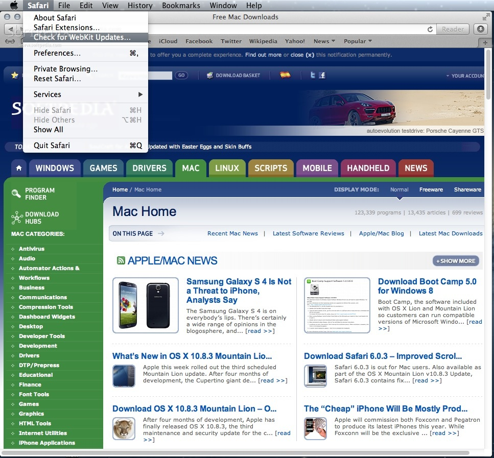 WebKit screenshot 2 - The About Menu helps you enter the private browsing mode and check for WebKit updates with just a few mouse clicks.