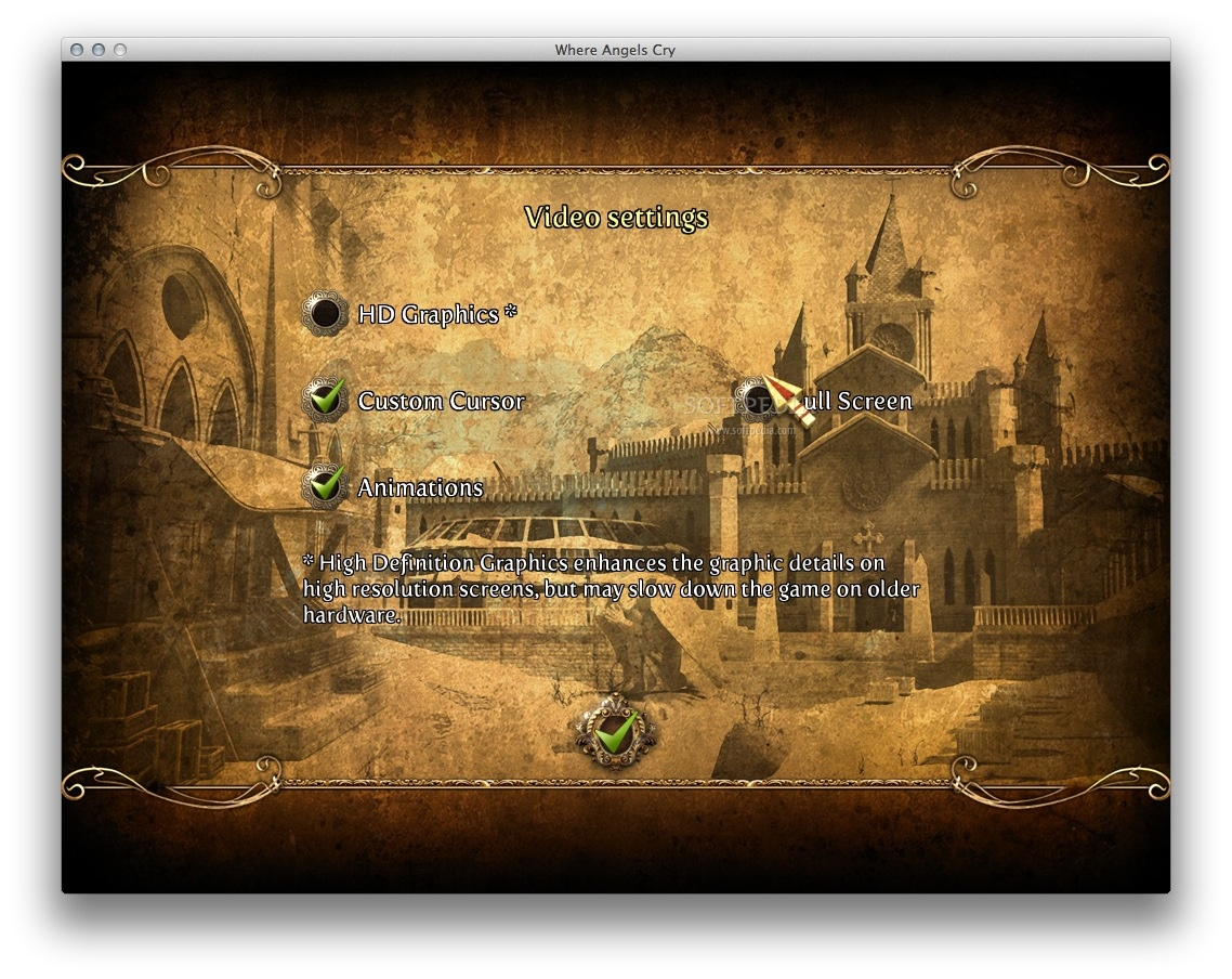 Where Angels Cry screenshot 6 - The Video Settings window where you can choose to play the game in full screen mode.
