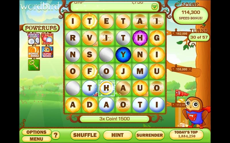 Word Bird screenshot 1 - Your objective in this game is to create words using the letters available on the board.