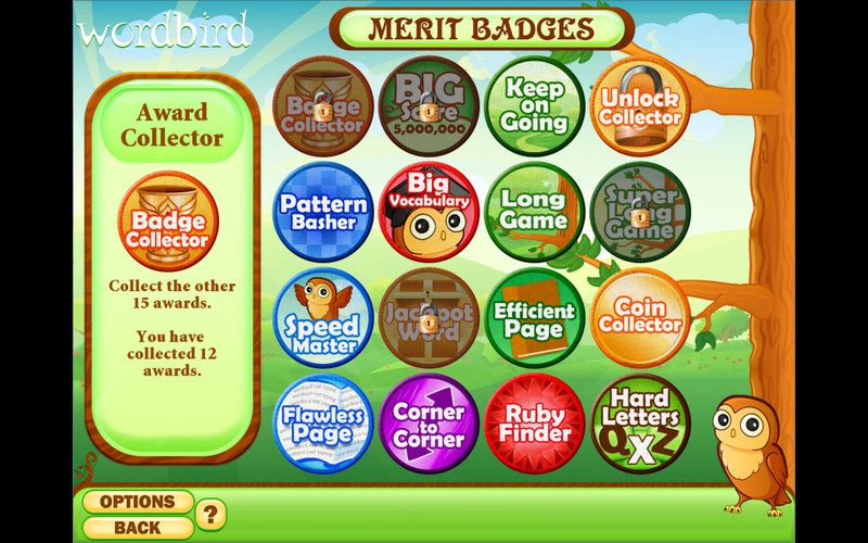 Word Bird screenshot 2 - Here you can view your merit badges.