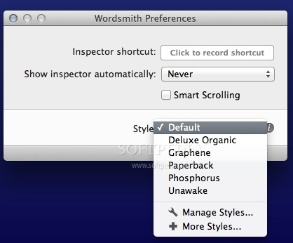 Wordsmith screenshot 3 - From the Preferences window you can easily change the default interface style and more.
