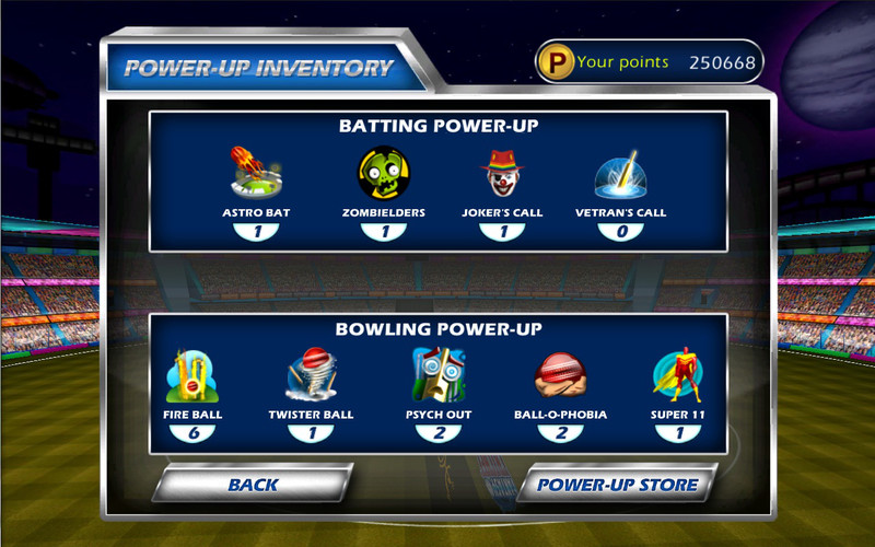WorldCricketChampionship screenshot 3 - The Power-up Inventory window helps you view a list with all available power-ups.