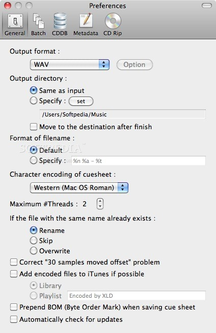 X Lossless Decoder screenshot 2 - The Preferences window where you can set the output format.
