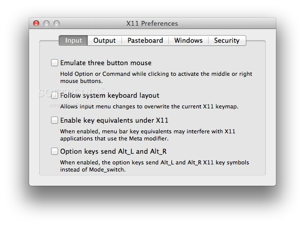 XQuartz screenshot 4 - The Preferences window where you can choose to emulate a three button mouse and more.