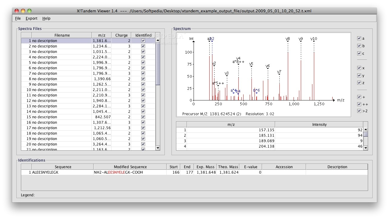 XTandem Parser screenshot 2 - The app shows you the Spectra files and Spectrum like in this example.