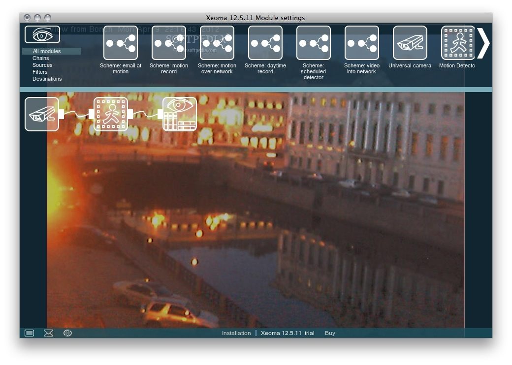 Xeoma screenshot 1 - You will be able to select a video device and monitor the area it's filming.