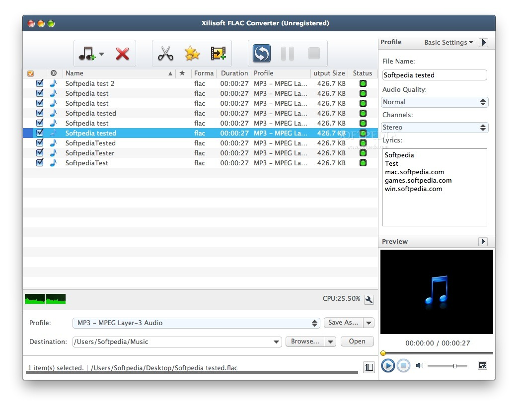 Xilisoft FLAC Converter screenshot 1 - Here you can choose the files that you want to convert.