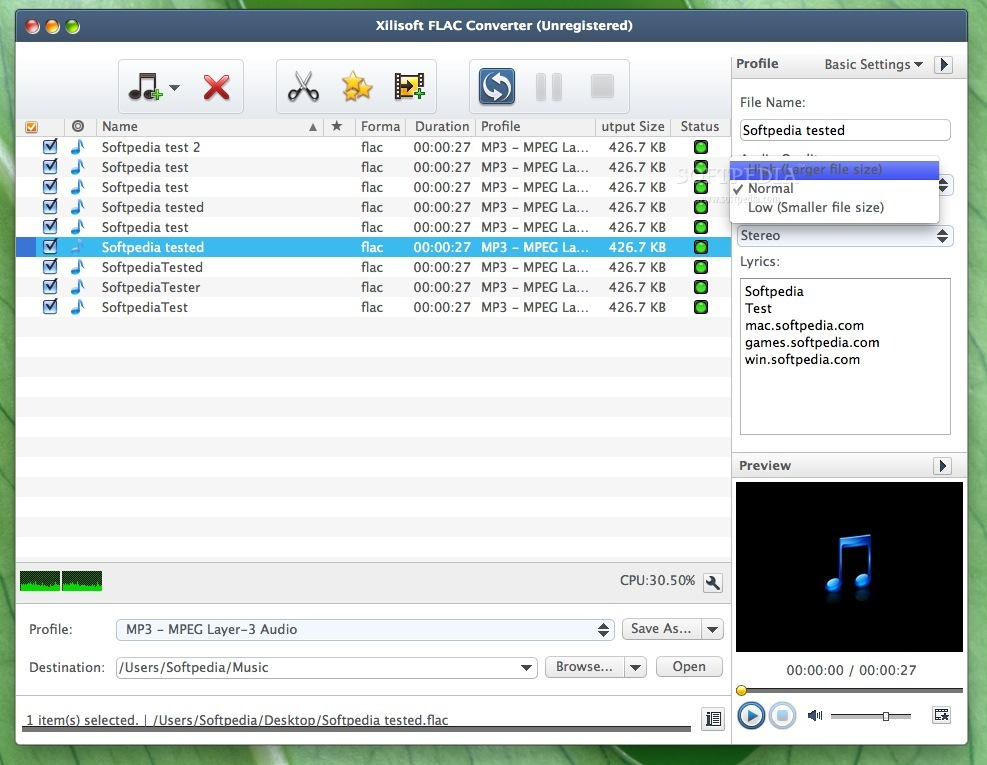 Xilisoft FLAC Converter screenshot 2 - This menu lets you choose the audio quality.
