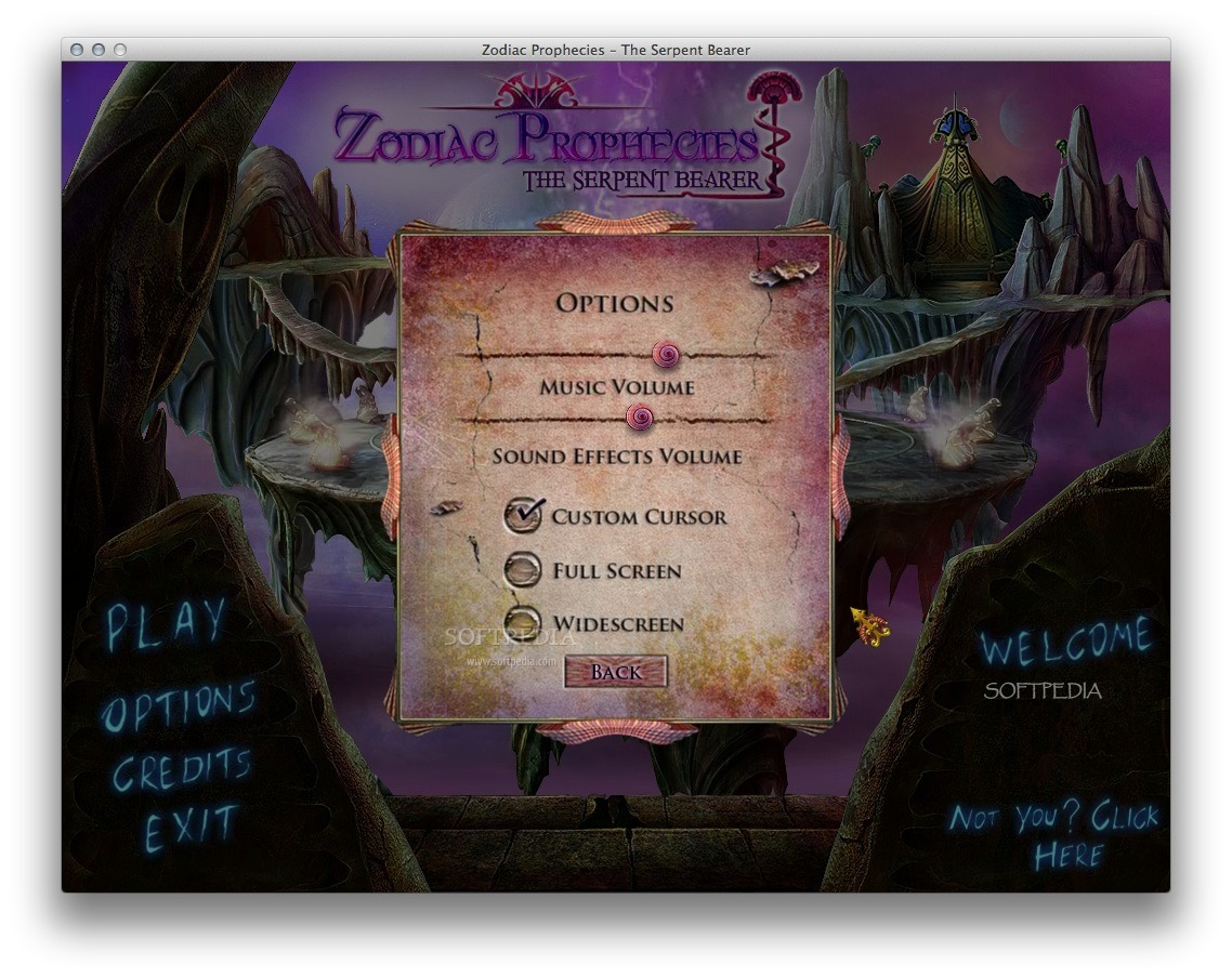 Zodiac Prophecies: The Serpent Bearer screenshot 4 - The 'Options' window allows you to adjust the music volume and more.