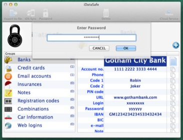 iDataSafe screenshot 1 - iDataSafe's Enter Password menu enables users to block access to their private financial data.