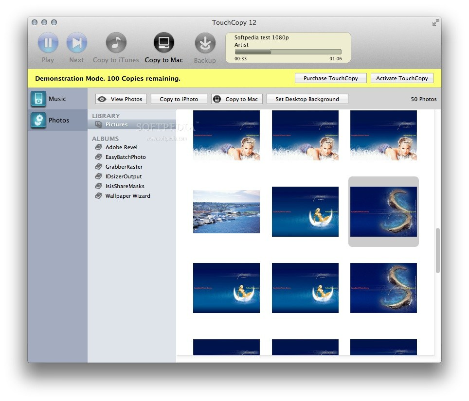 TouchCopy screenshot 2 - The Photos tab helps you browse, preview and copy to Mac all the pictures from your device.
