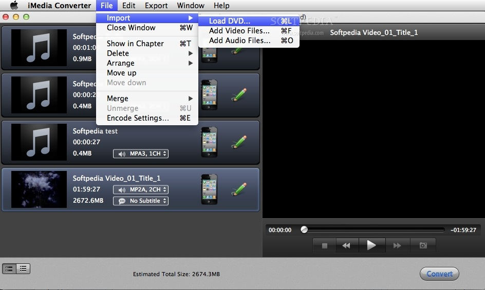 iSkysoft iMedia Converter screenshot 3 - From the File menu, you can add the video, audio or DVDs that you want to manage or edit.