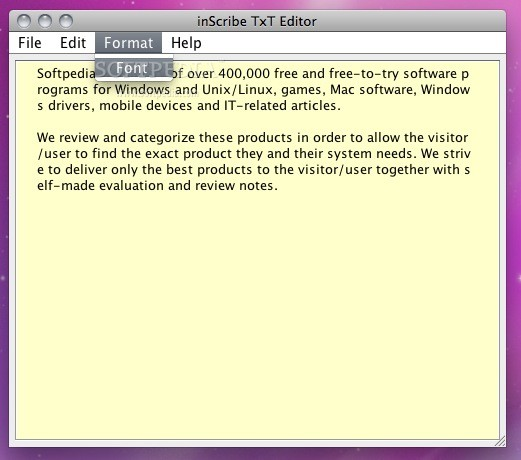 inScribe Text Editor screenshot 3 - Some format changes can be made this way.