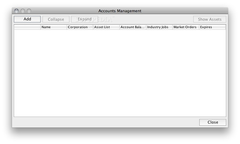 jEveAssets screenshot 2 - This is where you can manage your eve-online accounts.