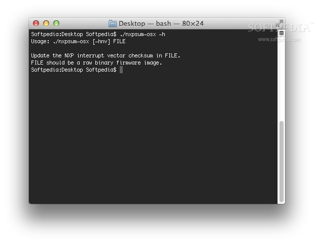 nxpsum screenshot 1 - The CLI help shows you how to update the NXP firmware checksum.