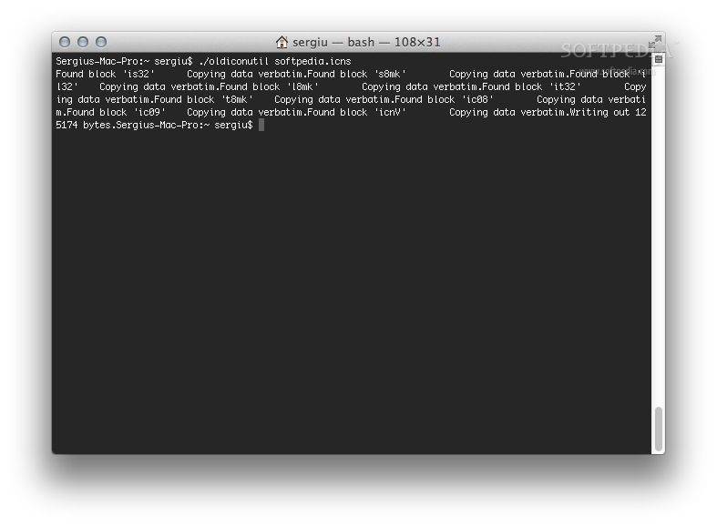 oldiconutil screenshot 1 - This is oldiconutil running in a Terminal window and creating and OS X 10.5 compatible icon.