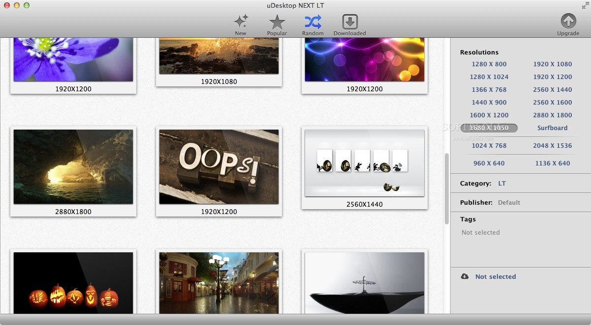 uDesktop HD screenshot 2 - You can filter them by choosing a resolution.