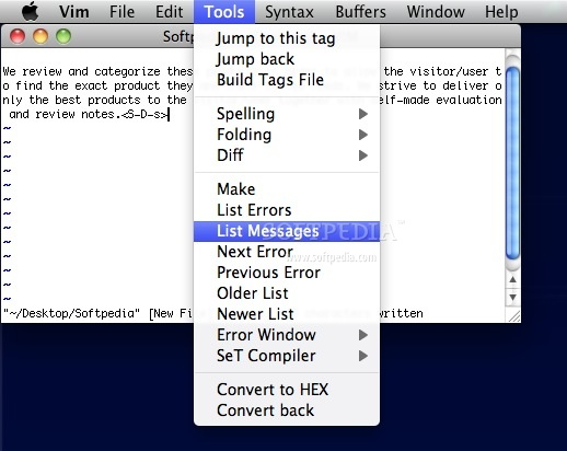 vim screenshot 3 - In this window you can access various tools.